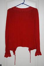PER UNA bright RED waterfall tie boho light Cardigan ruffle sweater M 8 10 NEW
