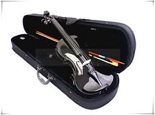 New School/Beginner 4/4 Black Violin & Bow/Rosin/Case/Extra Free String Set