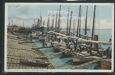LA New Orleans PHOSTINT c.1908 OYSTER LUGGERS Boats at Dock by Detroit Pub 10274