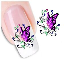 Nail Art Sticker Water Decals Transfer Stickers Purple Butterflies (DX1220)
