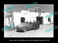 OLD LARGE HISTORIC PHOTO OF POWERS LAKE NORTH DAKOTA STUDEBAKER DEALERSHIP c1950