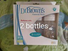 Dr Brown Natural Flow 2-pack Wide Neck 8oz Bottles