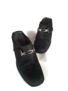 White Stag Womens Black Clog Heels Slip On Casual Shoes Suede Size 7M