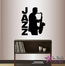 Wall Vinyl Decal Saxophone Player Jazz Man Band Music Musician Vinyl Sticker 921