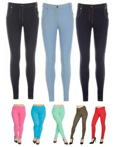New Ladies Womens Skinny Fit Coloured Stretchy Jeggings Trousers Jeans Leggings