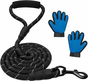 Dog Leash Extremely Heavy Duty for Medium / Big Dogs 6 feet Free Grooming Gloves