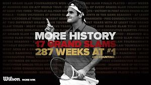 ROGER FEDERER TENNIS CHAMPION WILSON RACQUETS WORLD NUMBER ONE POSTER