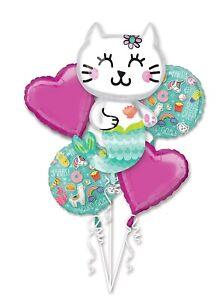 5 Piece Selfie Celebration Mermaid Cat Balloon Foil Mylar Bouquet Party Supplies