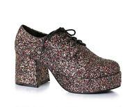 Ellie 312-DISCO Men's Glitter Multi Pimp Disco Cosplay Platform Block Heel Shoe