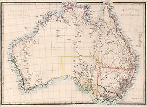 "1864 Australia Map Gold Regions Mining Home School Wall Poster 11""x15"" History"