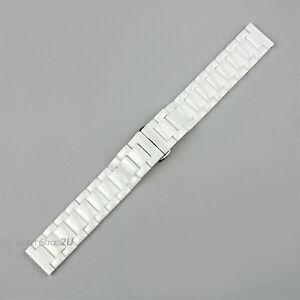 White Ceramic Straight End Watch Strap Button Bracelet Deployment Clasp 16 18 19