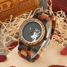 Luxury Elk Deer Colorful Wooden Watch for Men Natural Wood Band Watches Gift