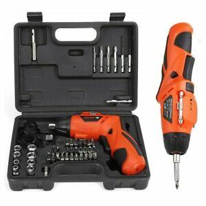 45 Pcs Rechargeable Cordless Electric Screwdriver Tool Bit Kit w/Lithium Battery