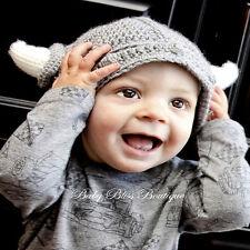 Bébé Enfant Mignon FAIT MAIN CROCHET Viking Bonnet tricot Photographie 0-12 mois