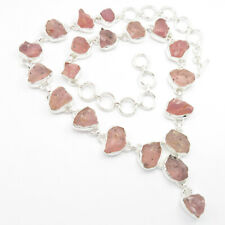 925 Pure Sterling Silver Handwork Necklace 19.3 Inches, AAA Quality ROSE QUARTZ