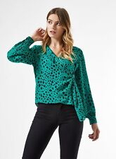 Dorothy Perkins Damen Grün Tierdruck Bluse Wickeltop Elegant V Ausschnitt
