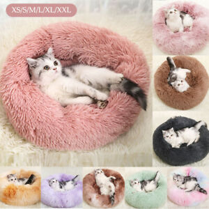 Donut Macaron Cat Bed Faux Plush Dog Pet Beds For Medium Small Cozy Round uk g