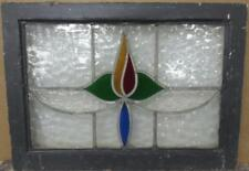 """OLD ENGLISH LEADED STAINED GLASS WINDOW Stunning Floral Design 23"""" x 16.75"""""""