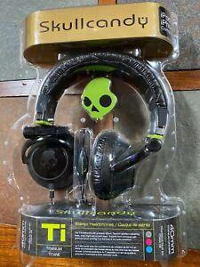 NIP SKULLCANDY Ti Titanium Headphones Black / Green  Model #S6TIBZ-BG