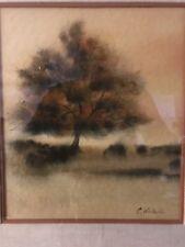 ORIGINAL Watercolor Signed C. (Charlene) Winterle Tree feeling shapes VIVID