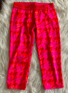 Under Armour Heat Gear Leggings XS Hot Pink Red Houndstooth Check Cropped Capri