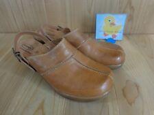 Dr Scholls Mule Clogs Size 9 / 8.5 Brown Leather Ankle Strap Double Air Pillo