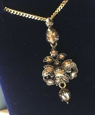 ANTIQUE GEORGIAN SILVER GOLD CLOSED BACK ROSE CUT DIAMOND EARRING PENDANT