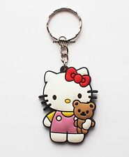 Hello Kitty Teddy Keyring Bagcharm Keychain Zip puller Rubber PVC UK Seller