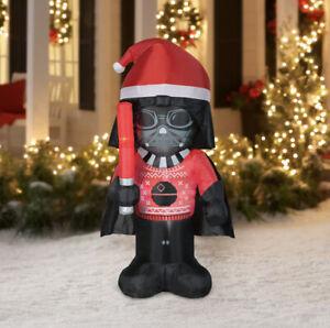 Gemmy 5' Airblown Christmas Inflatable Star Wars Darth Vader Wearing Santa Hat