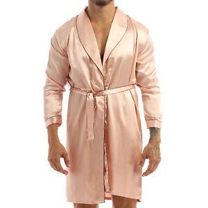Men Pajamas PJ Set Satin Silk Shirts Shorts Robes Bathrobe Nightgown Sleepwear