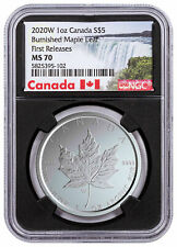 2020 W 1 oz Burnished Silver Maple Leaf NGC MS70 FR W/COA Black Core SKU59505