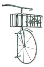 Rustic Antique Turquoise Bicycle Metal Wall Decor with Planter Box New
