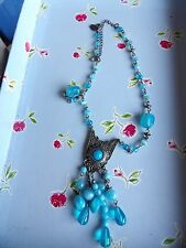 PER UNA FAUX TURQUOISE MEXICAN STYLE BEAD CHAIN PENDANT TASSELL NECKLACE 76-116
