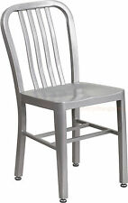 MID-CENTURY SILVER 'NAVY' STYLE DINING CHAIR CAFE PATIO RESTAURANT IN-OUTDOOR