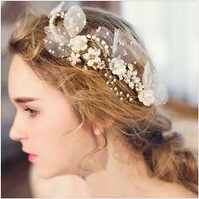 Wedding Hair Clip Gold Flower Headpiece Rhinestone Pearl Crown Princess Tiara GD