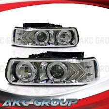 Projector Lens Headlight Lamps LED Halo For Chevy Silverado Suburban Tahoe