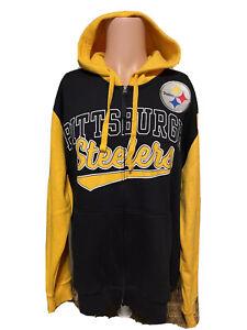 NEW Men's Pittsburgh Steelers Zip Up Hooded Black Jacket Sweatshirt Size XL