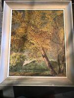 VintageOil Painting on Board Country Landscape Scene Signed Framed joe pearce