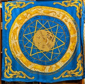 Vintage Silk Scarf Horoscope Zodiac Astrology Albert Nippon