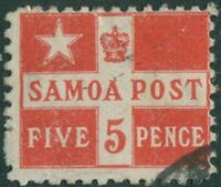 Samoa 1894 SG72a 5d deep red Flag FU