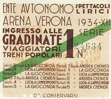 Ente Autonomo Arena Verona Spettacoli lirici 1934 XII Biglietto d'ingresso