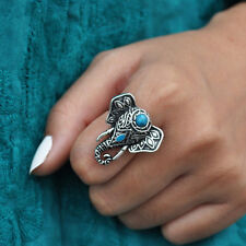 Elephant Ring Adjustable Turquoise and Antique Silver Free Shipping AR-49