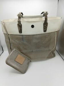 COACH Clear Large Beach Weekend Tote Bag F29102 Snakeskin Leather Handles