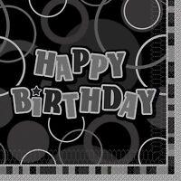 Glitz Birthday Supplies Tablecover, plates, cups, napkins blue, pink black
