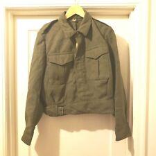 Vtg Original Post WW2 Greek Khaki Wool Battle Dress Blouse sz 7 British 36 Chest
