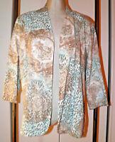 CHICO'S Knit Jacket 3 XL Leopard Print Paisley Open Front Blue Tan White Blazer