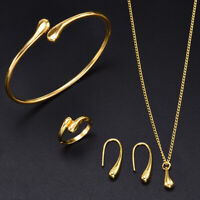 4Pcs Fashion Women 925 Wedding Drop Necklace Bracelet Earring Ring Set Jewelry