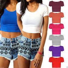 Womens Ladies Short Sleeve Crop Top T-Shirt Vest Bralet Round Neck Stretch Plain