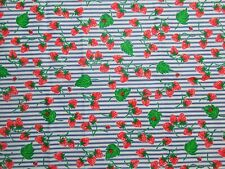 """FABRIC TRADITIONS Strawberries Multicolor Cotton Fabric 1YD and 24"""" X 60"""" W NEW"""
