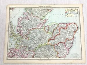 1909 Antique Map of Scotland The Scottish Highlands Firth of Tay George Philip